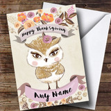 Pretty Owl Customised Thanksgiving Card