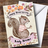 Pretty Squirrel Customised Thanksgiving Card