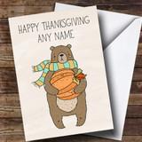 Pumpkin & Bear Customised Thanksgiving Card