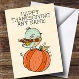 Pumpkin & Bird Customised Thanksgiving Card