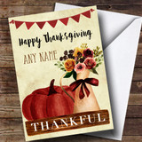 Pumpkin & Flowers Customised Thanksgiving Card