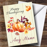 Pumpkin Floral Wood Customised Thanksgiving Card