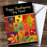 Quilted Fall Leaves Golden Customised Thanksgiving Card
