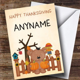 Scarecrow, Teddy & Pumpkin Customised Thanksgiving Card