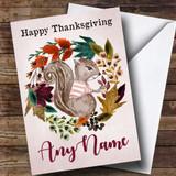 Squirrel Autumn Wreath Customised Thanksgiving Card