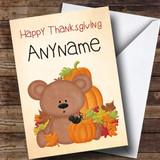 Teddy Bear Pumpkin Customised Thanksgiving Card