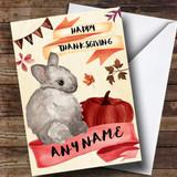 Watercolour Rabbit Customised Thanksgiving Card