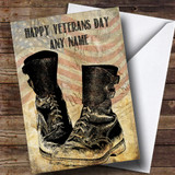Army Boots American Flag Customised Veterans Day Card