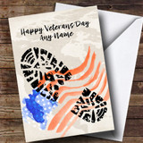 Military Boot Print & American Flag Customised Veterans Day Card