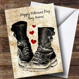 Military Boots & Hearts Customised Veterans Day Card