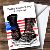 Military Boots & USA Flag Customised Veterans Day Card