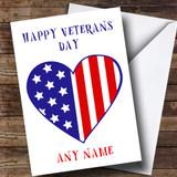 USA Flag Heart Customised Veterans Day Card