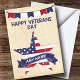 USA Flag Star Customised Veterans Day Card