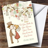 Vintage Birdcage Cute Couple Customised Renewal Of Vows Card
