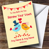 Red & Yellow Love Birds Customised Renewal Of Vows Card