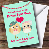 Mint Green Cute Owls Customised Renewal Of Vows Card