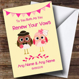 Cute Pink & Yellow Owls Customised Renewal Of Vows Card