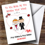 Cute Doodle Red Haired Couple Customised Renewal Of Vows Card