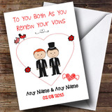 Cute Doodle Gay Male Couple Red Haired Customised Renewal Of Vows Card