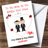 Cute Doodle Gay Male Couple Blonde Dark Haired Customised Renewal Of Vows Card