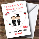 Cute Doodle Gay Male Couple Both Dark Haired Customised Renewal Of Vows Card