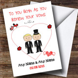 Cute Doodle Gay Male Couple Both Blonde Customised Renewal Of Vows Card