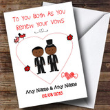Cute Doodle Gay Male Black Couple Customised Renewal Of Vows Card