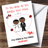Cute Doodle Black Couple Customised Renewal Of Vows Card