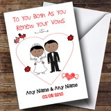 Cute Doodle Asian Couple Customised Renewal Of Vows Card
