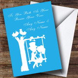 Blue Couple Eon Swing Customised Renewal Of Vows Card