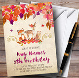 Bright Floral Woodland Forest Animals Fox Children's Birthday Party Invitations