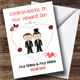 Cute Doodle Gay Male Couple Both Dark Haired Customised Wedding Card