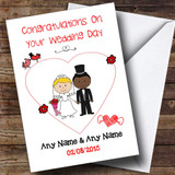 Cute Doodle Black Groom White Bride Customised Wedding Card