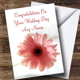 Stunning Pink Flower Romantic Customised Wedding Day Card