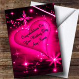 Hot Pink Love Heart Romantic Customised Wedding Day Card