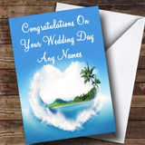 Palm Tree Love Beach Romantic Customised Wedding Day Card