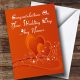Orange Love Heart Romantic Customised Wedding Day Card
