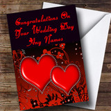 Red Diamond Heart Romantic Customised Wedding Day Card