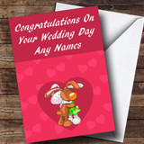 Cute Cuddling Rabbits Romantic Customised Wedding Day Card