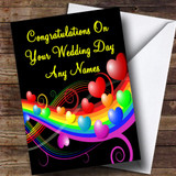 Rainbow And Hearts Romantic Customised Wedding Day Card