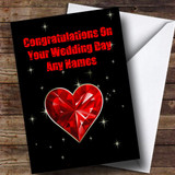 Red Heart And Stars Romantic Customised Wedding Day Card