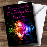 Colourful Love Heart Romantic Customised Wedding Day Card