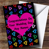 Multi-coloured Love Hearts Romantic Customised Wedding Day Card