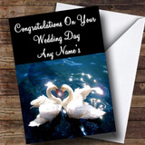 Romantic Swans Customised Wedding Day Card