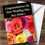 Colourful Roses Customised Wedding Day Card