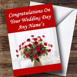 Red Roses Customised Wedding Day Card