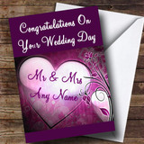 Purple Heart Customised Wedding Day Card