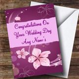 Purple Customised Wedding Day Card