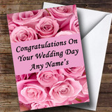 Pink Roses Customised Wedding Day Card