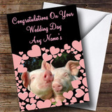 Pig Customised Wedding Day Card